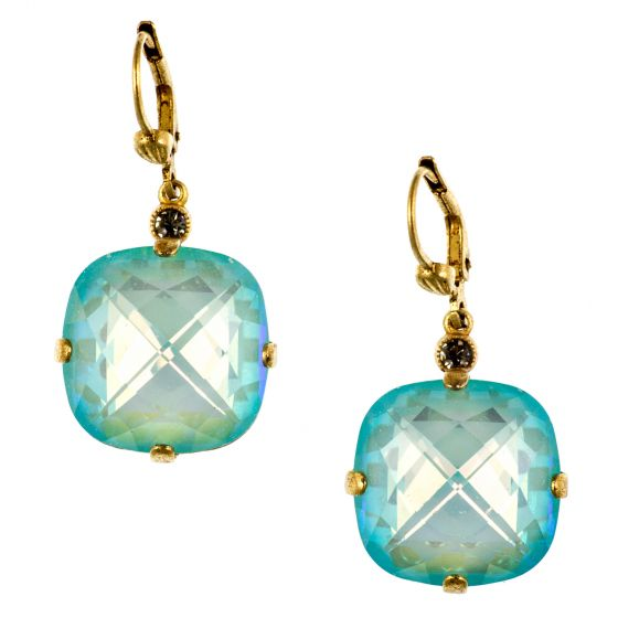 Catherine Popesco Ex-Large Stone Crystal Earrings - Blue Lagoon and Gold