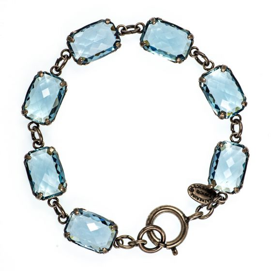 Catherine Popesco Pillow Cut Crystal Bracelet - Aqua and Silver