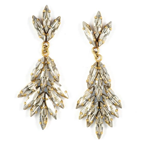 Catherine Popesco Marquise Cluster Post Dangle Earrings - Shade and Gold