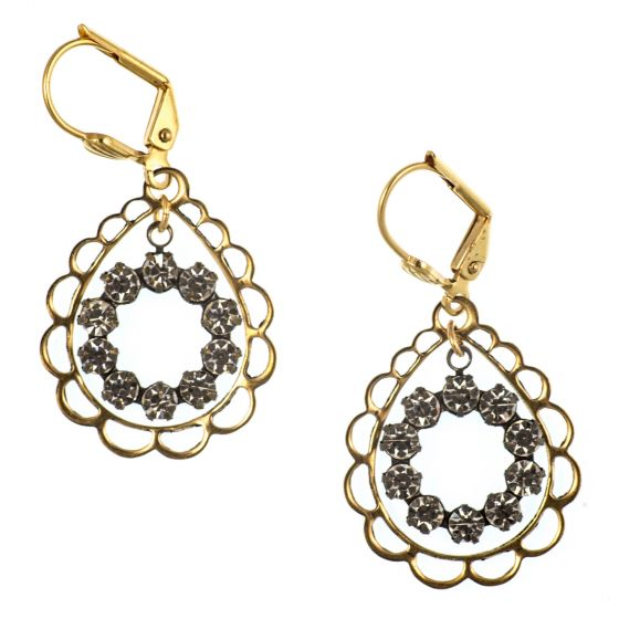 Clara Beau Earring - Filagree Drop Around Crystal Circle