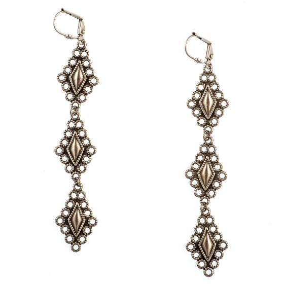 Clara Beau Earrings - Long Triple Diamond Shape Drop Earrings