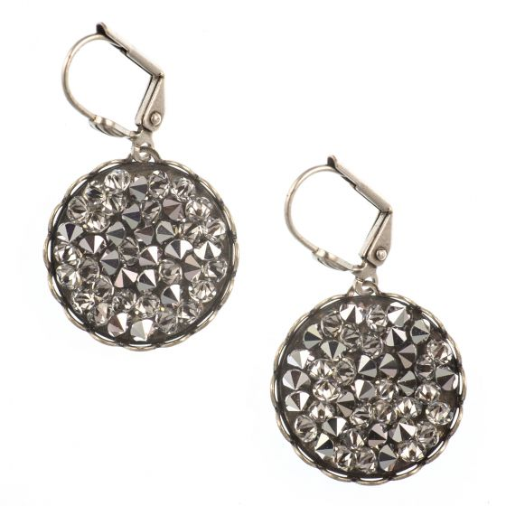 Clara Beau Earrings - Round Metallic Swarovski Crystal Rocks