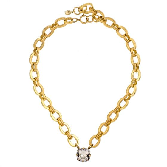 Catherine Popesco Jumbo Shade and Gold Thick Chain Necklace