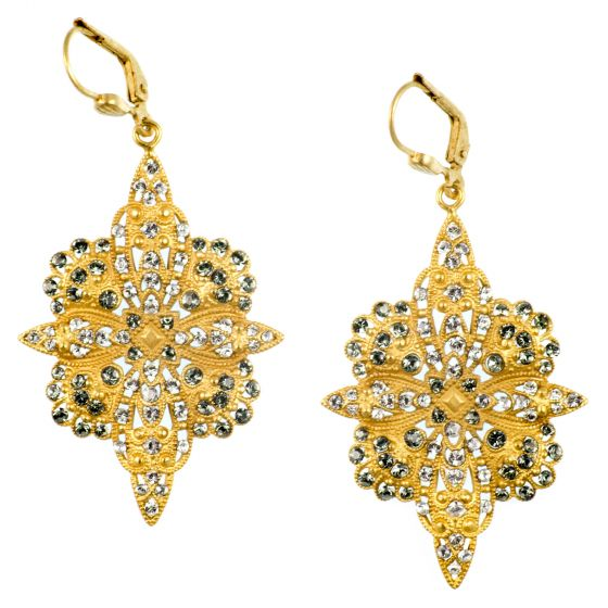 Catherine Popesco Crystal Flowered Earrings Black Diamond in Gold