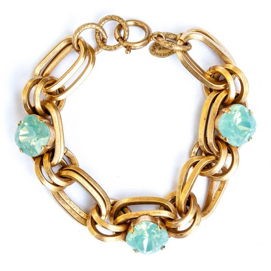 Catherine Popesco Pacific Opal Oval Link Crystal Bracelet in Gold