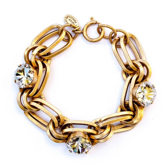 Catherine Popesco Shade Oval Link Crystal Bracelet in Gold
