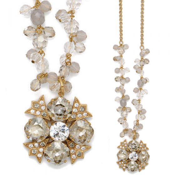 Catherine Popesco Beautiful Crystal Gold Necklace