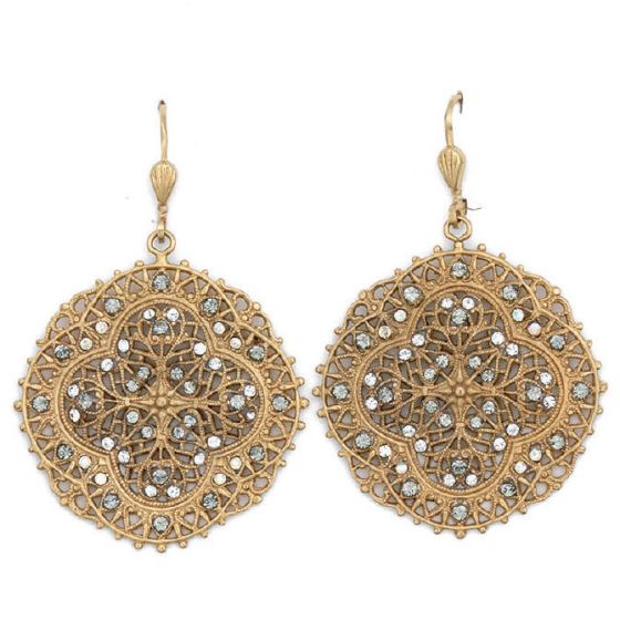 Crystal and Gold or Silver Filigree Earrings - Catherine Popesco