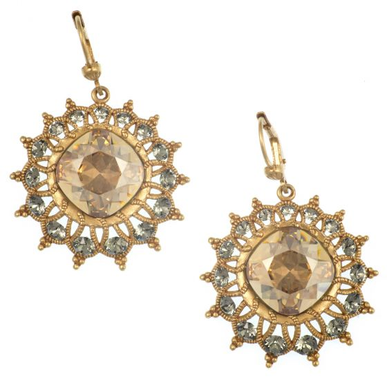 Catherine Popesco Starburst Crystal Earrings in Champagne and Gold