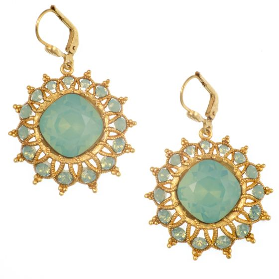 Catherine Popesco Starburst Crystal Earrings in Pacific Opal and Gold