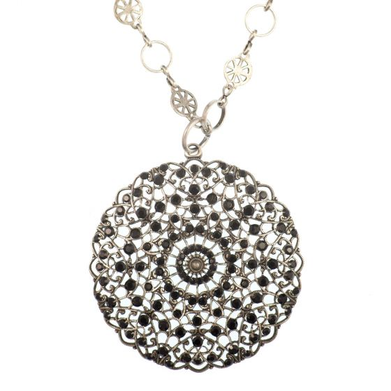 Catherine Popesco Large Lacy Jet Black Crystal Medallion Silver Crystal Necklace