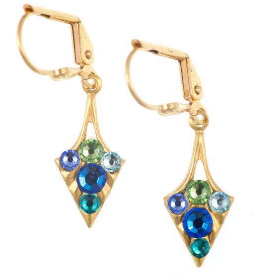 Clara Beau Tiny Daggers Swarovski Crystal Earrings in Gold