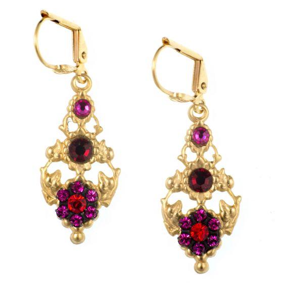 Clara Beau Red and Fuchsia Vine Cluster Earrings in Gold