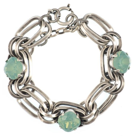 Catherine Popesco Pacific Opal Oval Link Crystal Bracelet in Silver