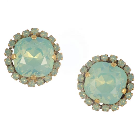 Catherine Popesco Large Stone Earrings Pacific Opal With Small Pacific Opal Crystals - Gold Post