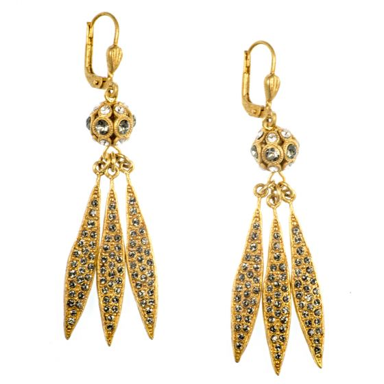 Catherine Popesco Triple Spear and Crystal Orb Earrings in Gold