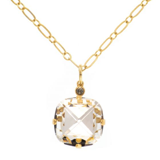 Catherine Popesco Extra Large Stone Crystal Necklace - Crystal and Gold