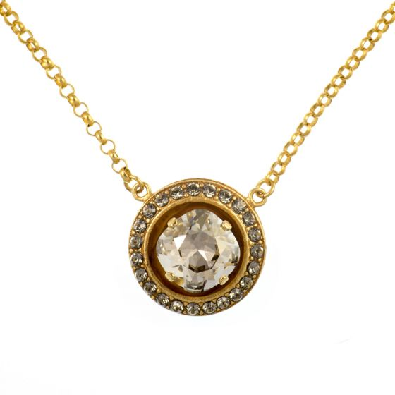 Catherine Popesco Round Crystal Frame Pendant Shade and Gold Necklace