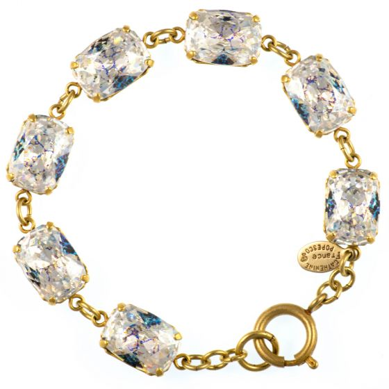 Catherine Popesco Pillow Cut Crystal Bracelet - Crystal White Patina and Gold!