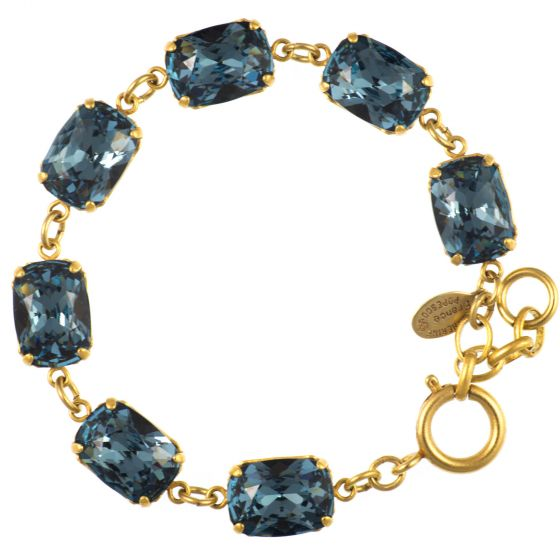 Exclusive - Catherine Popesco Pillow Cut Crystal Bracelet - Midnight Blue and Gold!