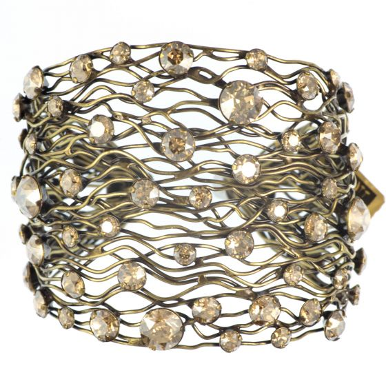 Konplott Cages Golden Shadow Crystal Antique Brass Wide Cuff Bangle Bracelet