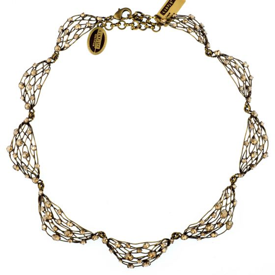 Konplott Golden Shadow Crystal Antique Brass Cages Necklace