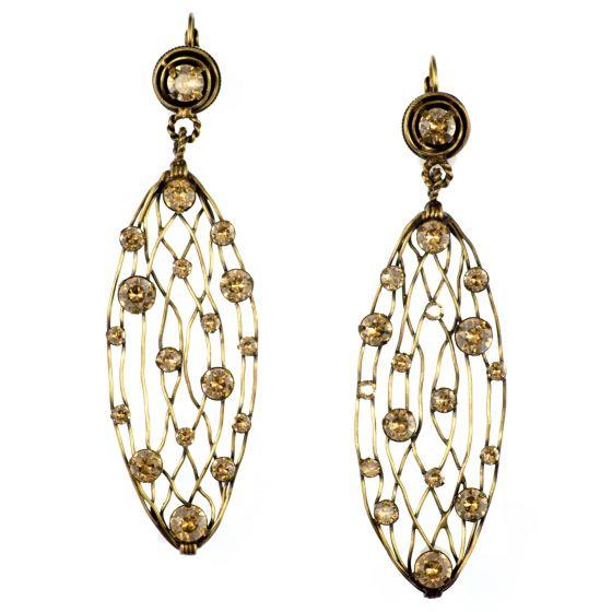 Konplott Golden Shadows Antique Brass Long Cages Earrings