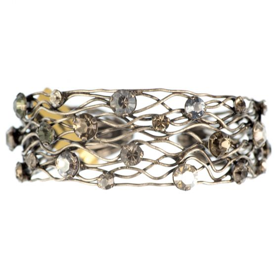 Konplott Cages Multi Color Antique Silver Narrow Cuff Bangle Bracelet
