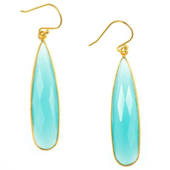 Elongated Drop Aqua Blue Chalcedony Gold Filled Earrings by Char Maassen