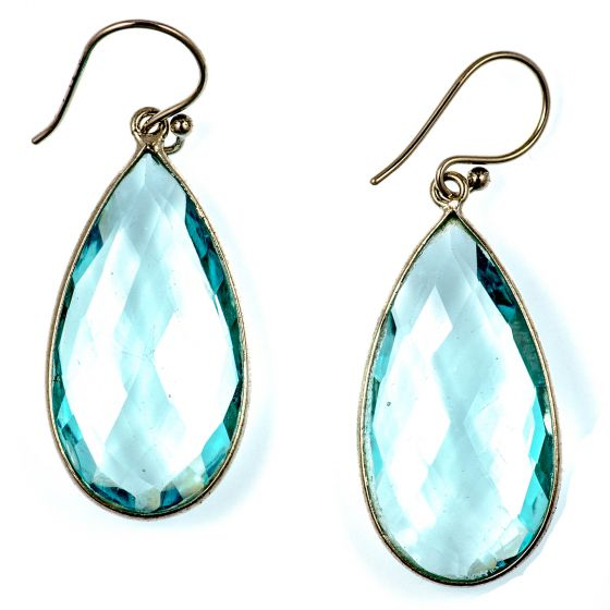 Large Sterling Silver Aqua Quartz Teardrop Earrings by Char Maassen