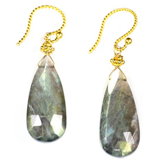 Shimmery Labradorite Elongated Drop Gold Filled Twisted Wire Earrings by Char Maassen