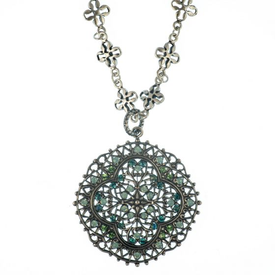 Catherine Popesco Crystal and Silver Filigree Necklace