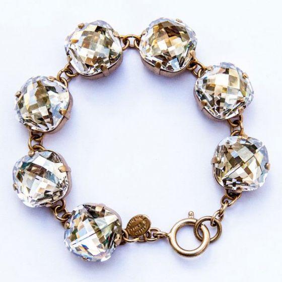 Catherine Popesco Ex-Large Stone Crystal Bracelet - Shade and Gold