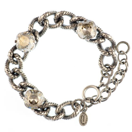 Catherine Popesco Chain Link Crystal Bracelet - Shade and Silver