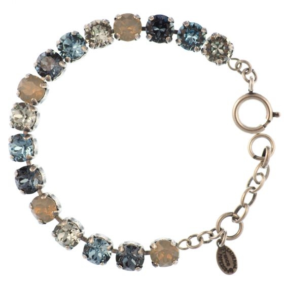 Catherine Popesco Multi Color Crystal Bracelet - Midnight and Aqua in Silver