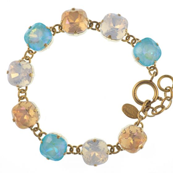 Catherine Popesco Large Stone Crystal Bracelet - Blue Lagoon - White Opal - Pink Champagne in Gold