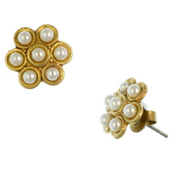 Catherine Popesco Stud or Post Gold Flower Pearl Earrings