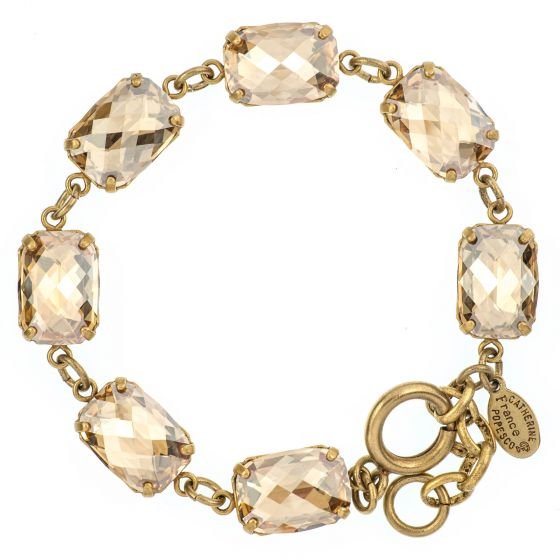 Catherine Popesco Pillow Cut Crystal Bracelet - Champagne and Gold