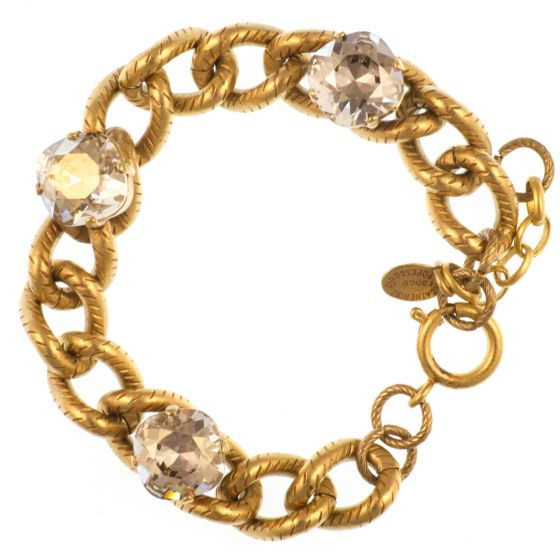 Catherine Popesco Chain Link Crystal Bracelet - Shade and Gold