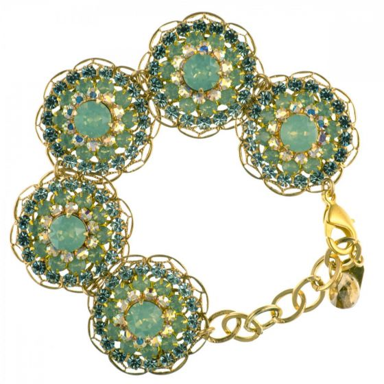 Clara Beau Exquisite Large Round Pacific Opal Crystal Floral Cluster Bracelet