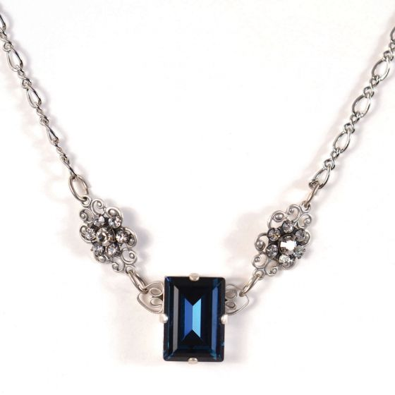 Clara Beau Montana Blue Rectangle Crystal Floral Filigree Necklace