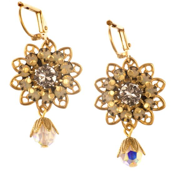 Clara Beau Stunning White Opal Crystal Flower Filigree Earrings