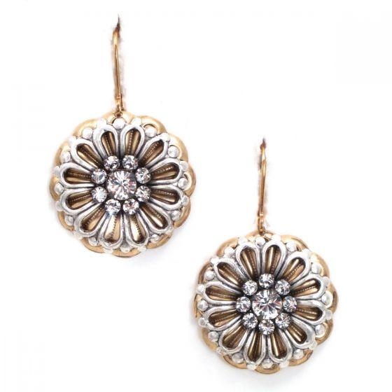 Clara Beau Fabulous Silver and Gold Filigree Daisy Crystal Earrings