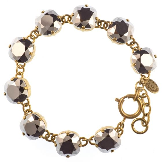 Catherine Popesco Large Stone Crystal Bracelet - Chrome and Gold