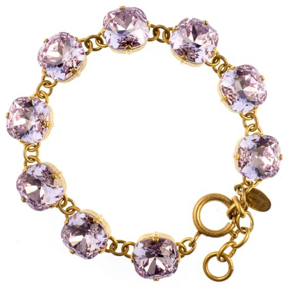 Catherine Popesco Large Stone Crystal Bracelet - Violet and Gold or Silver