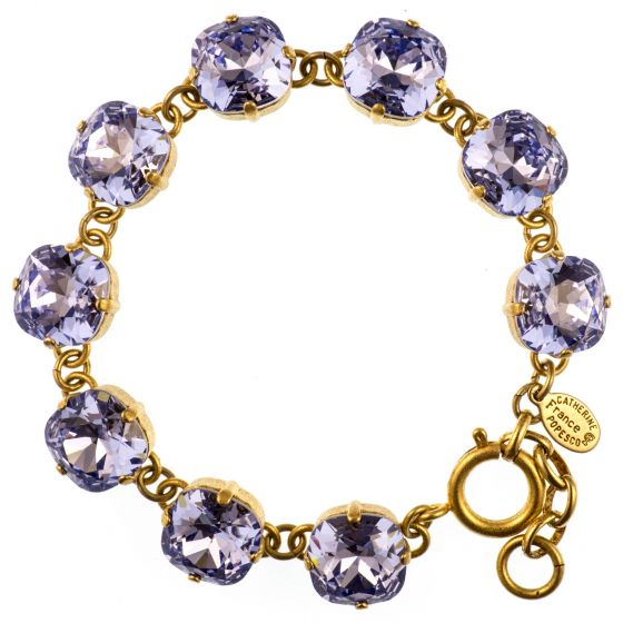 Catherine Popesco Large Stone Crystal Bracelet - Provence Lavender and Gold or Silver