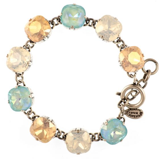 Catherine Popesco Large Stone Crystal Bracelet - Blue Lagoon - White Opal - Pink Champagne in Silver