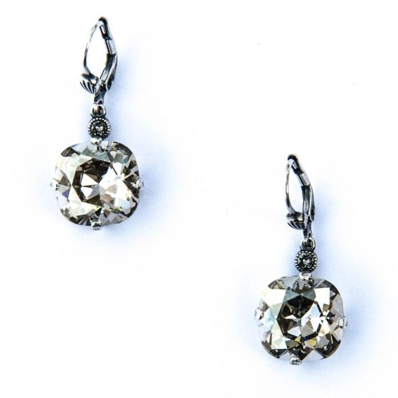 Catherine Popesco Large Stone Crystal Earrings - Shade and Silver