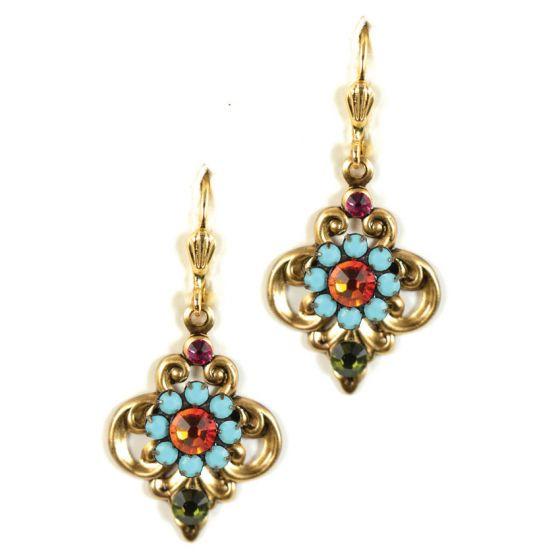 Clara Beau Royal Multicolor Turquoise Filigree Crystal Earrings
