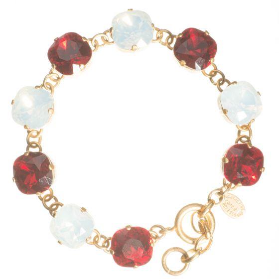 Catherine Popesco Large Stone Crystal Bracelet - Red & White Opal Combo